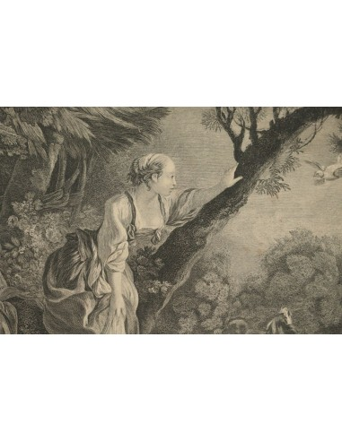 """Romantic Steel Engraving from the 19th Century L'Arrive du Courrier"""""""