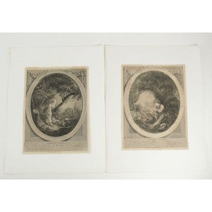 Pair De gravure Romantic, XIXth Century