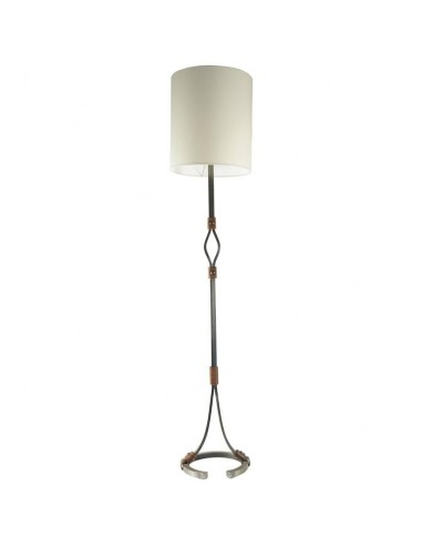 Floor Lamp from the 1960's in Wrought Iron and Leather