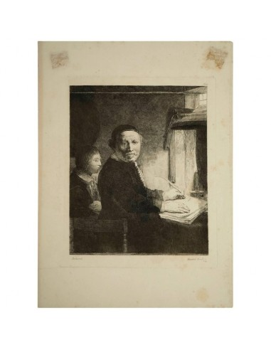 Steel Engraving from the 19th Century Representing a Painting of Rembrandt