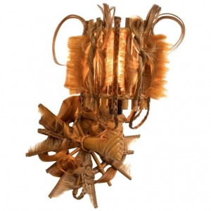 Pair of Rattan Sconces and Synthetic Fibers, Unique Pieces