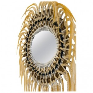 Rattan Mirror and Synthetic Fibers, Unique Pieces Directed, Art Modern