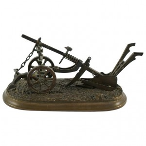 Miniature bronze plow. C.1900