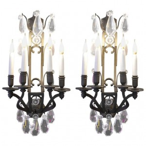 Pair of important sconces in bronze with crystals