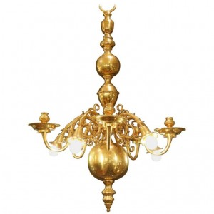 Superior Quality Solid Brass Dutch Style Chandelier From The 19th Century