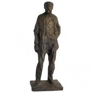 Bronze Sculpture of Anton Worjac by sculptor Jurcak. 20th Century. Brown patina.