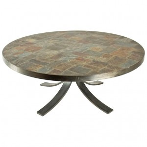 Round coffee table in wrought iron and stone from the Ardoise. C. 1960 - 1970