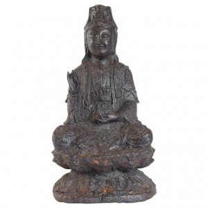 Iron Cast Buddha, Brown Patina, Unknown Dating