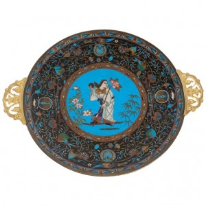 Polychrome Cloisonné Enameled Dish With Character Decor And Entrelcss Fleuris, Japan