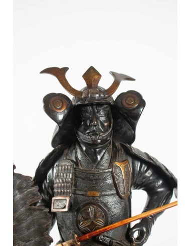 Importante Sculpture En Bronze, Samouraï, Japon, 1925, Socle En Onyx, Démontable