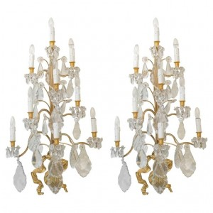 Spectacular Pair Of Sconces, 1930-1940, Gilt Bronze And Crystal Pendants