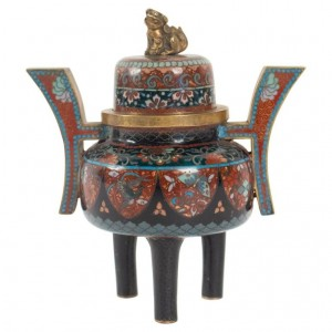 Perfume Burner In Copper Decor Cloisonné Enamels, Topped Of A Fo Dog, Japan, Middle Nineteenth