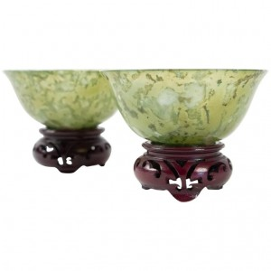 Pair Of Jadeite Cups, Asian Art, Antiquity, Early 20th Century, China