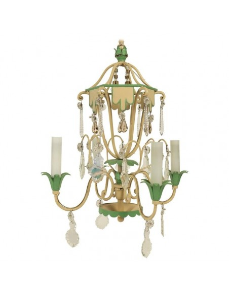 Chandelier, 1950's in Painted Metals and Cristal