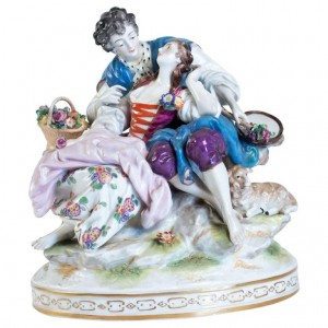 Porcelain Group Representative An Elegant With Her Courtesan, Earthenware In Antique Style