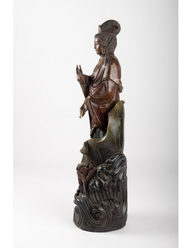 Guanyin In Carved Wood And Polichrome, China, Early 20th Century, Asian Art