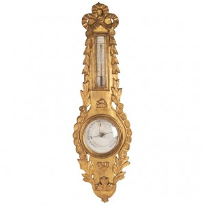 Barometer Louis XVI In Golden Wood, 18th Century