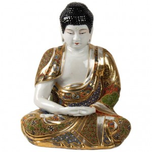 Buddha Meditation Porcelain Stazuma Decor Polychrome Lotus, 1900