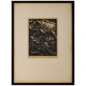 Engraving, Signed, 1928, Representative Stylized Horses Running, Framed