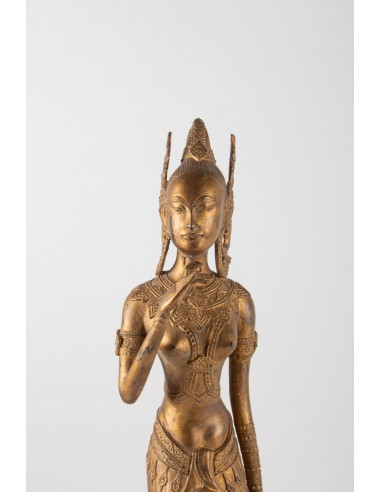 Indonesian Goddess In Gilded Metal Holding A Lotus Flower, 1920-1940
