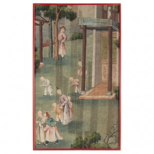 Silk, Chinese Painting, Nineteenth Century, Temple Scene, Asia