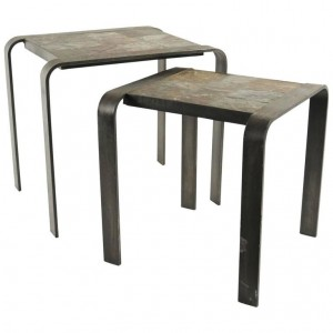 Nesting Tables of the 1960  1970's in Wrought Iron and Slate