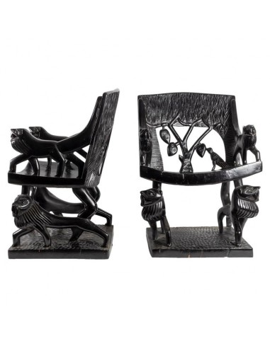 Pair Of Carved Armchairs In Exotic Wood, Art Deco Period, 1920