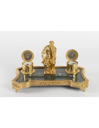 "Inkwell In Gilt Bronze And Marble, ""the Thinker"", XIXth Century, Napoleon III Period"