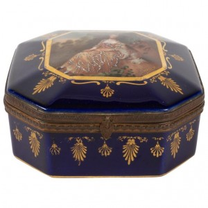 Box, Box Set, XIXth Century, Napoleon III Period, Porcelain And Brass Frame