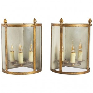 Pair Of Corner Lanterns, 3 Golden Iron Lights From 1950, Curved Glass