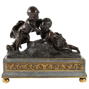 Bronze Sculpture From The 18th Century, From The Louis XVI Period On Its Grey And Golden Bronze