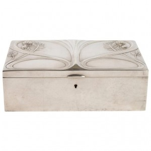 Silvered Metal Art Nouveau Period Box, Satin Furnished Interior, 1910