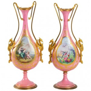 Pair Of Enamelled Porcelain And Gilded Bronze Vases, Napoleon III Period, 19th Century