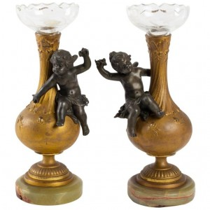 Pair Of Vases For 1 Flower Head, Signed Moreau, Napoleon III Period In Golden Bronze