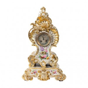 Louis XV Style Napoleon III Clock By Jacob Petit In Porcelain Of Paris