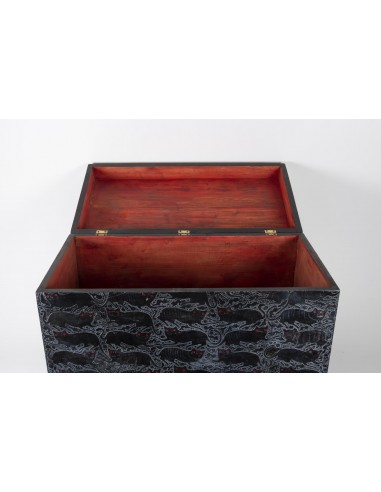 Chest On Its Lacquer Base, 1930, Art Deco With Red Eyes Cat Decorations