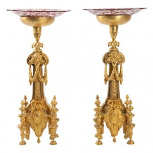 Pair Of Golden Bronze Table Centerpieces From The 19th Century And Bohemian Glass, 1870