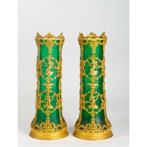 Pair of Gold Brass Mounted Glass Vases