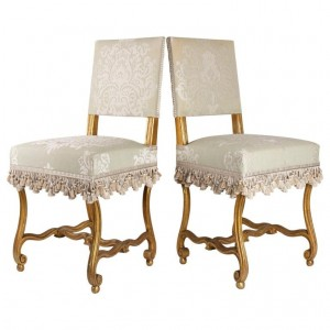 Pair of Napoleon III Period Carved and Gilded Wooden Chairs, Sheep Bone, Napoleon III Period