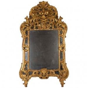 Louis XV Period Mirror, 18th Century, South of France, in Parcloses, Mercury Ice, Golden Wood