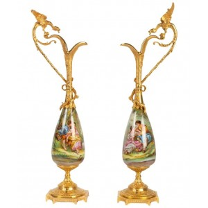 Pair of Gilt Bronze and Porcelain Ewers with a Winged Dragon, Napoleon III