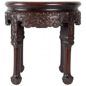 Small Exotic Wooden Table Very Dense Carved with Floral Patterns. China, 19th Century, 1880