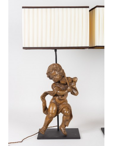 Pair of 18th Century Carved Wooden Lovers Mounted in an Important Lamp