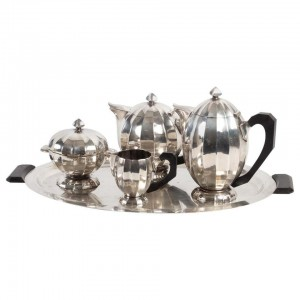 Set of 5 Pieces, Coffee Maker, Teapot, Milk Pot, Sugar Bowl, Tray, Silver Metal