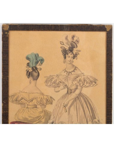 19th Century Engraving, Under Glass, Depicting An Elegant Front And Back