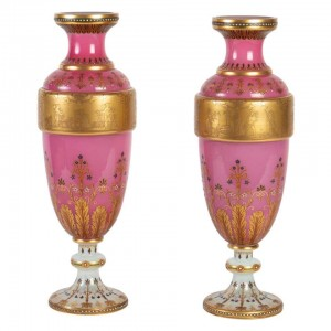 Pair of Red, Gold and White Bohemian Vases, XIXth Century, Napoleon III
