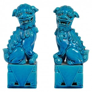Pair Of Fô Dogs In Blue Porcelain - Chinese Work From The End Of The 19th Century