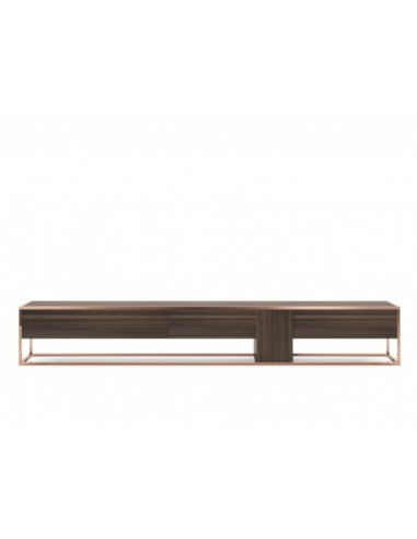 Low Design String made of Smoked Eucalyptus Wood Veneer, Copper and Stainless Steel Structure.