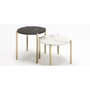 A Set of Round table, Design Style, Round Side Table With Coated Metal Legs.
