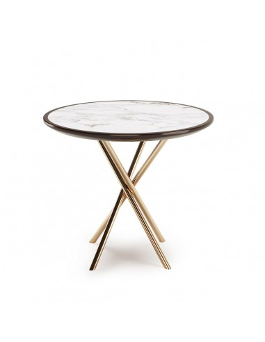Round Side Table with Lacquered Marble Top, Copper Stainless Legs